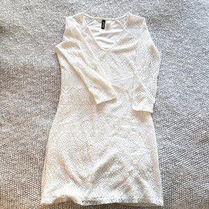 Divided White Crochet Bodycon Dress